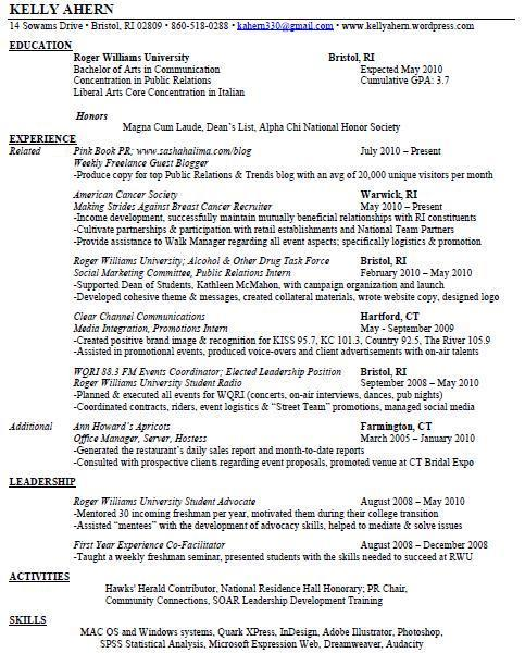 Public Relations & Related Experience Resume. Leadership Resume